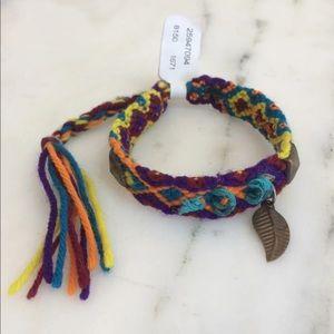 Leaf Charm Yarn Knit Bracelet
